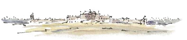 A watercolour of Wentworth Woodhouse by Sir Donald Insall