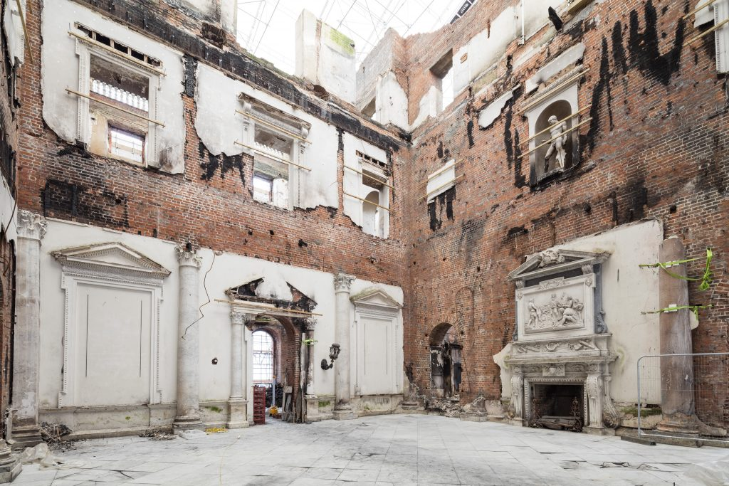 Country houses are a fundamental part of our collective memory. The fire damaged Marble Hall, Clandon Park.