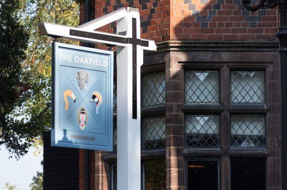 Pub sign showing TheOakfield