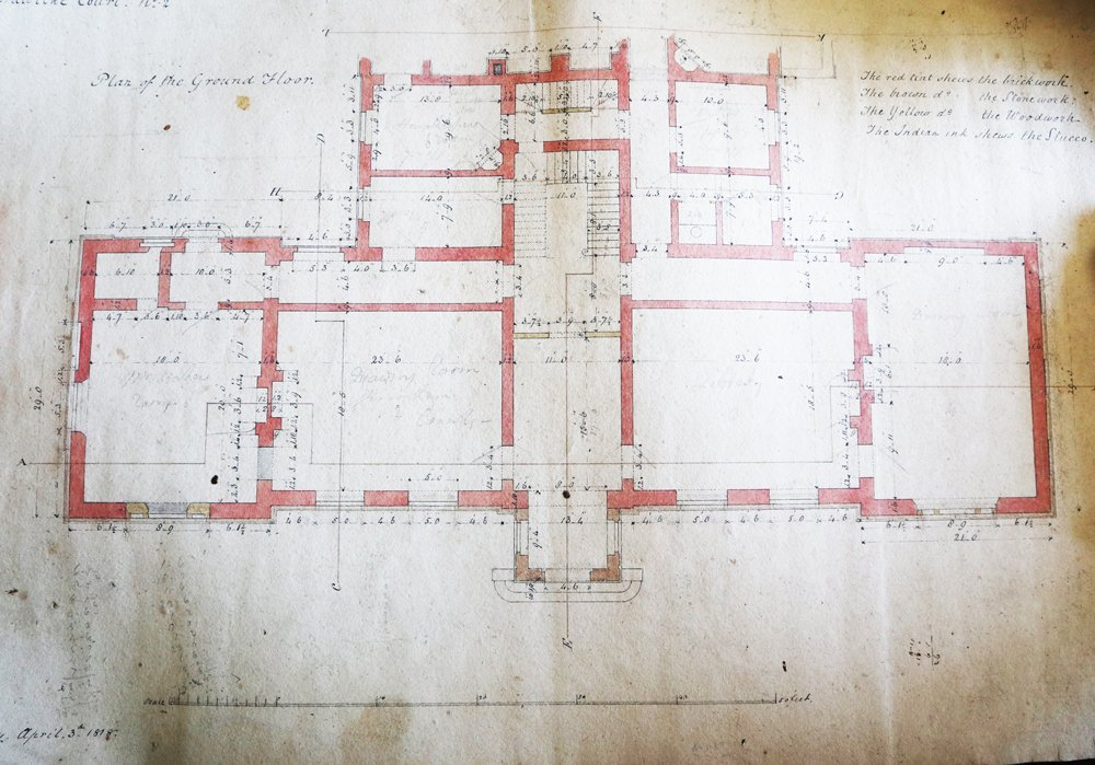 1818 ground floor plan by Robert Smirke of a country house in Gloucestershire discovered in a bin bag in a disused part of the house