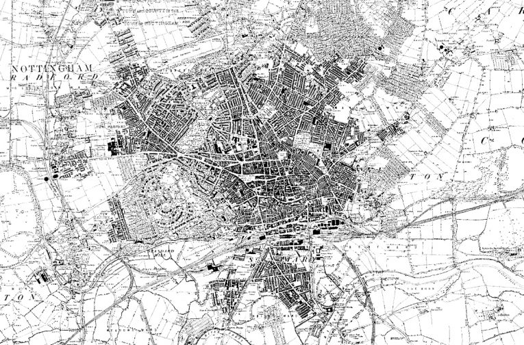 1880 Ordnance Survey map showing the rapid expansion of Nottingham