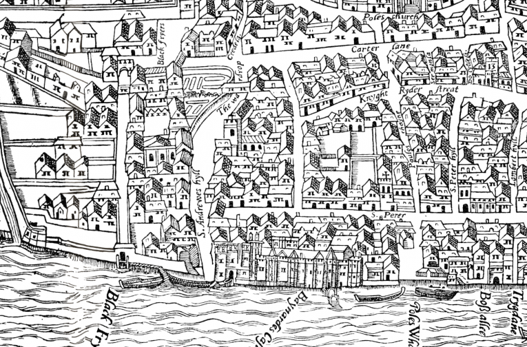 Agas' map of Oxford of 1578 - part pictorial, part cartographic and unusually accurate for a map of this date.