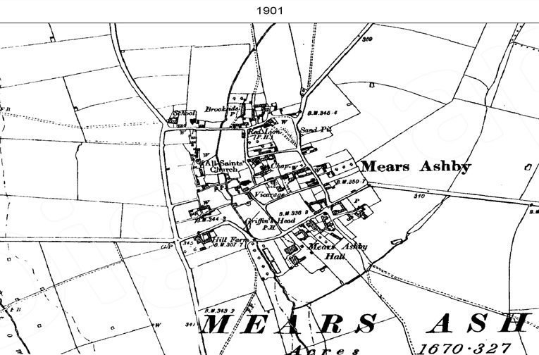 Ordnance Survey map of Mears Ashby, 1900.