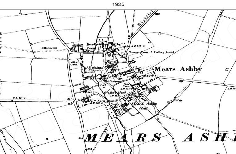 Ordnance Survey map of Mears Ashby, 1925.