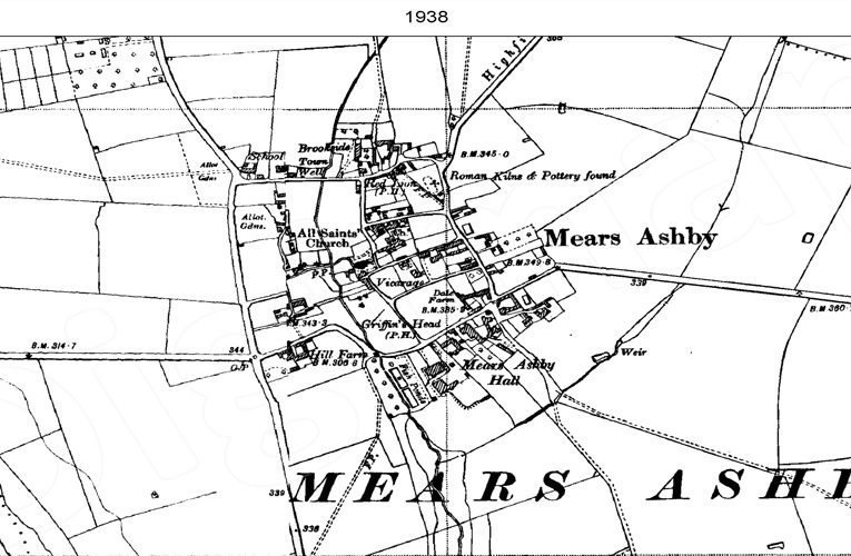 Ordnance Survey map of Mears Ashby, 1948.