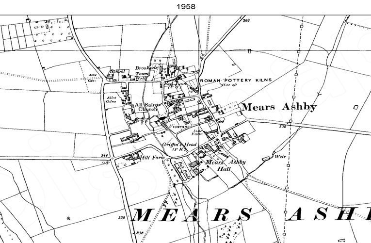 Ordnance Survey map of Mears Ashby, 1952.