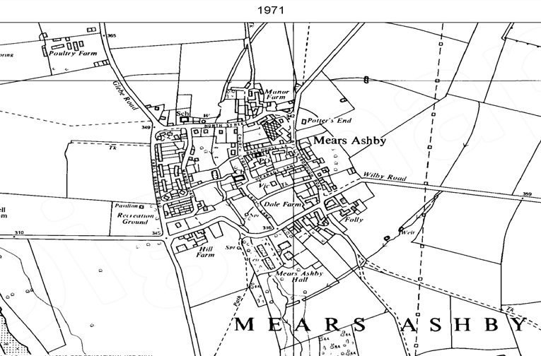 Ordnance Survey map of Mears Ashby, Northants showing peripheral expansion and infill development to the north and west of the historic village centre, 1971.