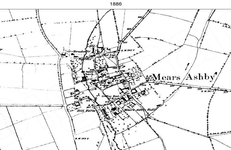 Ordnance Survey map of Mears Ashby showing impact of late-19th century development in Mears Ashby, 1886.