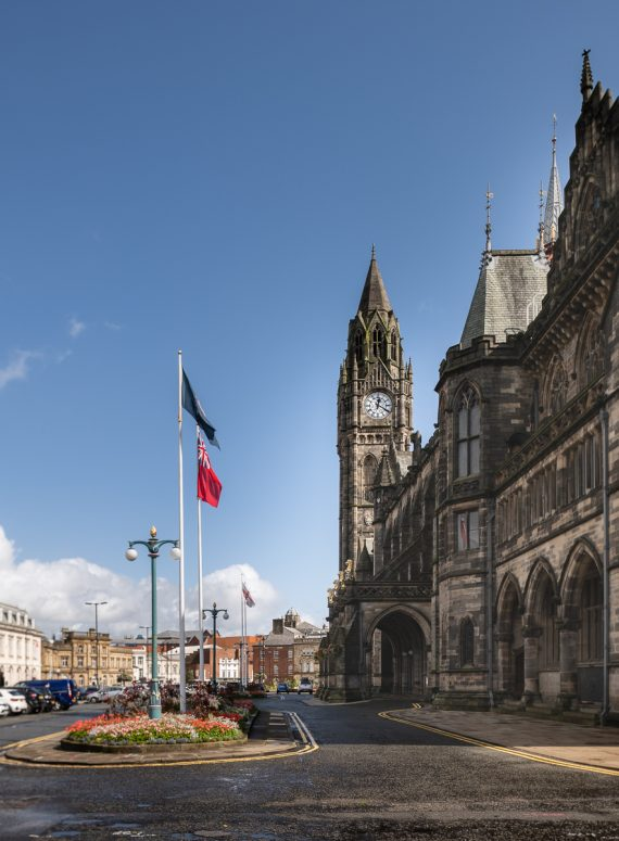 The front elevation of Rochdale Town Hall. Photo © Damian Griffiths.