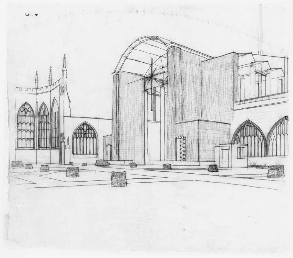 Sketch perspective from the ruins of old cathedral, Basil Spence, 1952 ©.