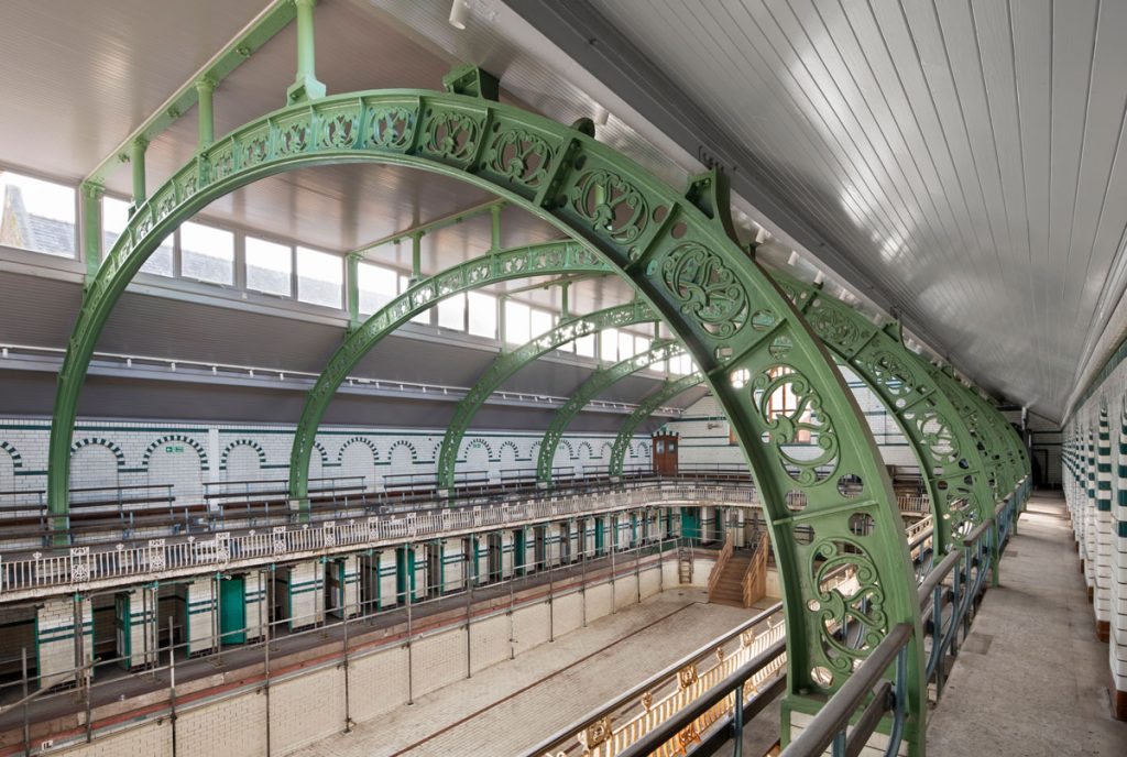 The roof, fully restored, at the Gala Pool inside Grade II* listed Moseley Road Baths in Birmingham