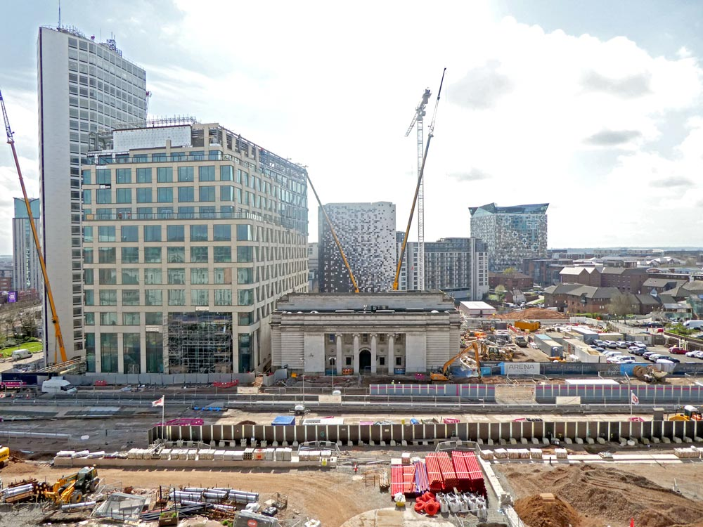 The former Municipal Bank in central Birmingham, surrounded by building works including a crane and groundwork