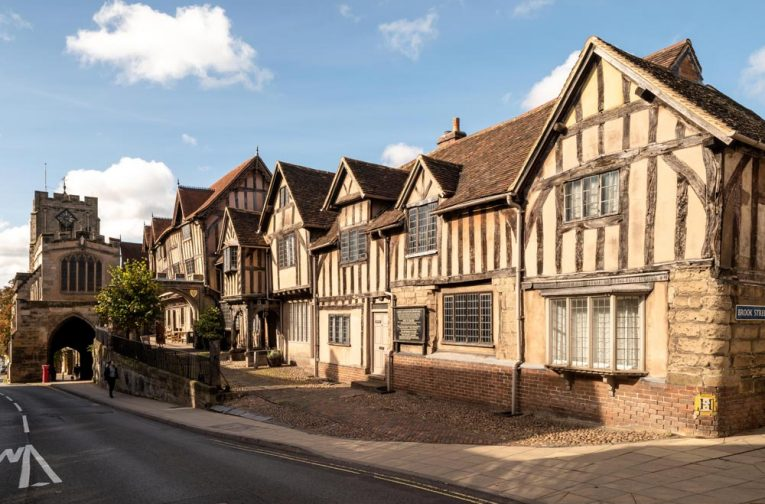 The facade of Lord Leycester Hospital in Warwick, one of the finest examples of medieval courtyard architecture in Britain