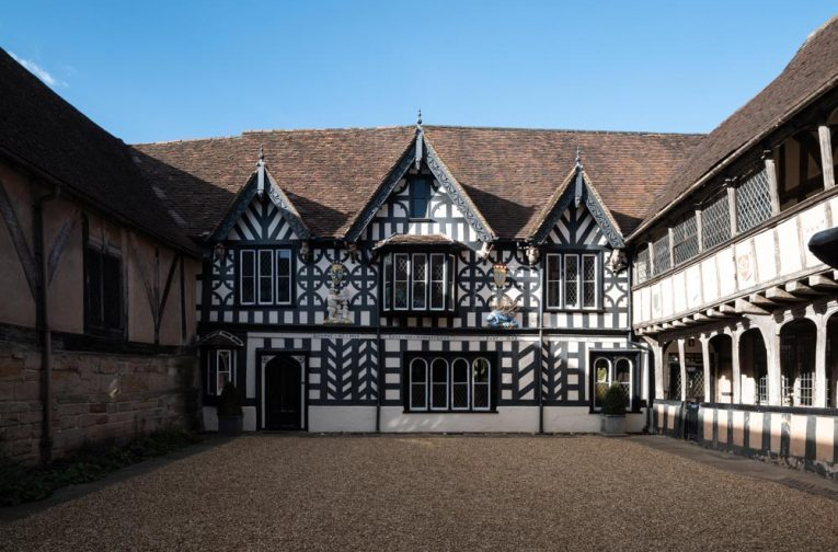 The courtyard of Lord Leycester Hospital in Warwick, one of the finest examples of medieval courtyard architecture in Britain