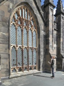 Birmingham's Matthew Vaughan undertaking a quinquennial inspection of Top Church (St Thomas and St Luke's) in Dudley