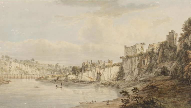 Chepstow Castle, Paul Sandby, 1775 (© The V&A). Chepstow Castle was just downstream of Piercefield and could be viewed from the walks. On Sandby's tour of South Wales he was joined by the botanist Joseph Banks, among others. Banks was understood to have visited Piercefield several times and met with its owner, Valentine Morris
