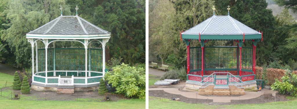A before and after shot of the same bandstand structure, with the image on the left showing the bandstand in poor condition, while the image on the right shows a recent photo of the bandstand, painted in red and green.