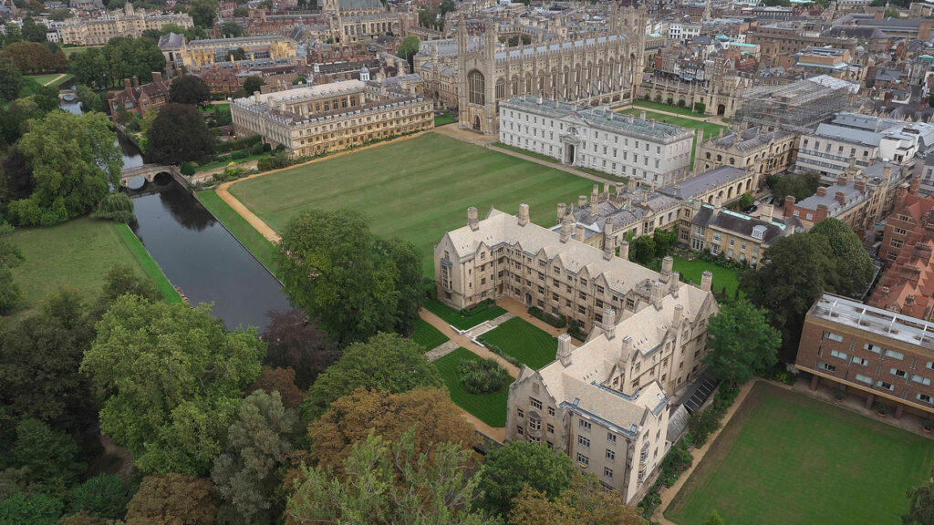 Aerial view with the skyline of Cambridge in the distance,of the three ranges of Bodley's Court, King's College